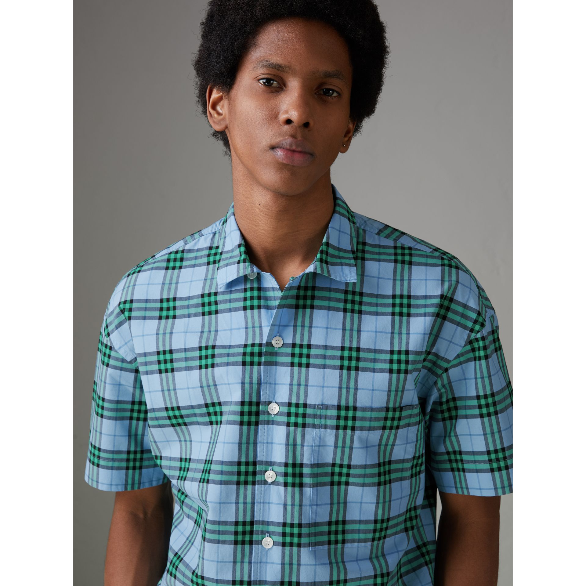 Short-sleeve Check Cotton Shirt in Blue Topaz - Men | Burberry United States - gallery image 1