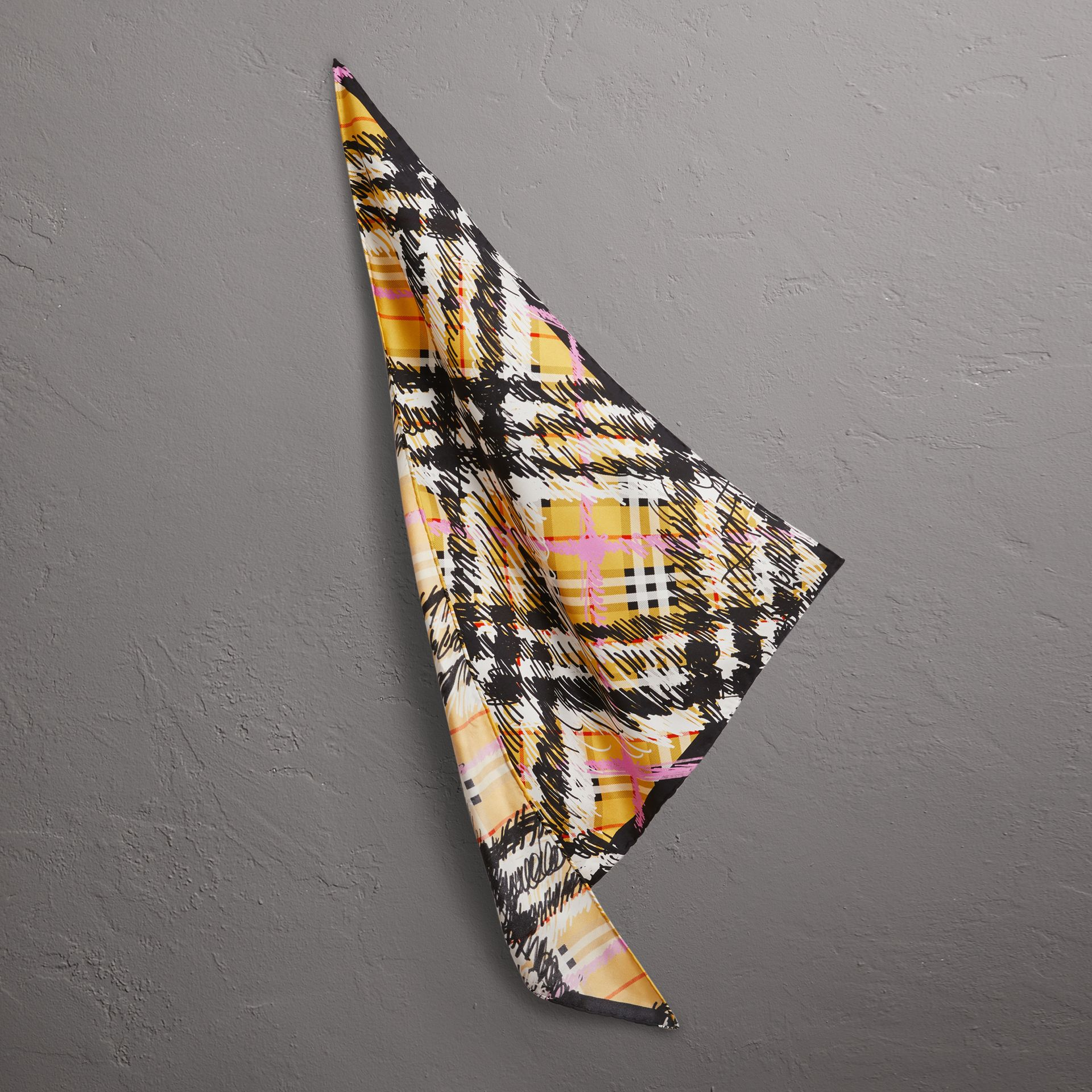 Scribble Check Silk Scarf in Bright Yellow - Women | Burberry United Kingdom - gallery image 0