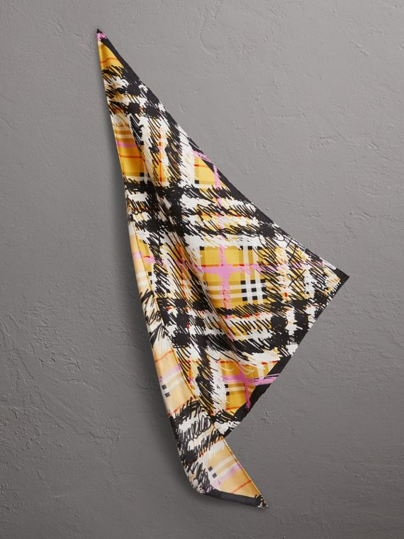 Scribble Check Silk Scarf in Bright Yellow