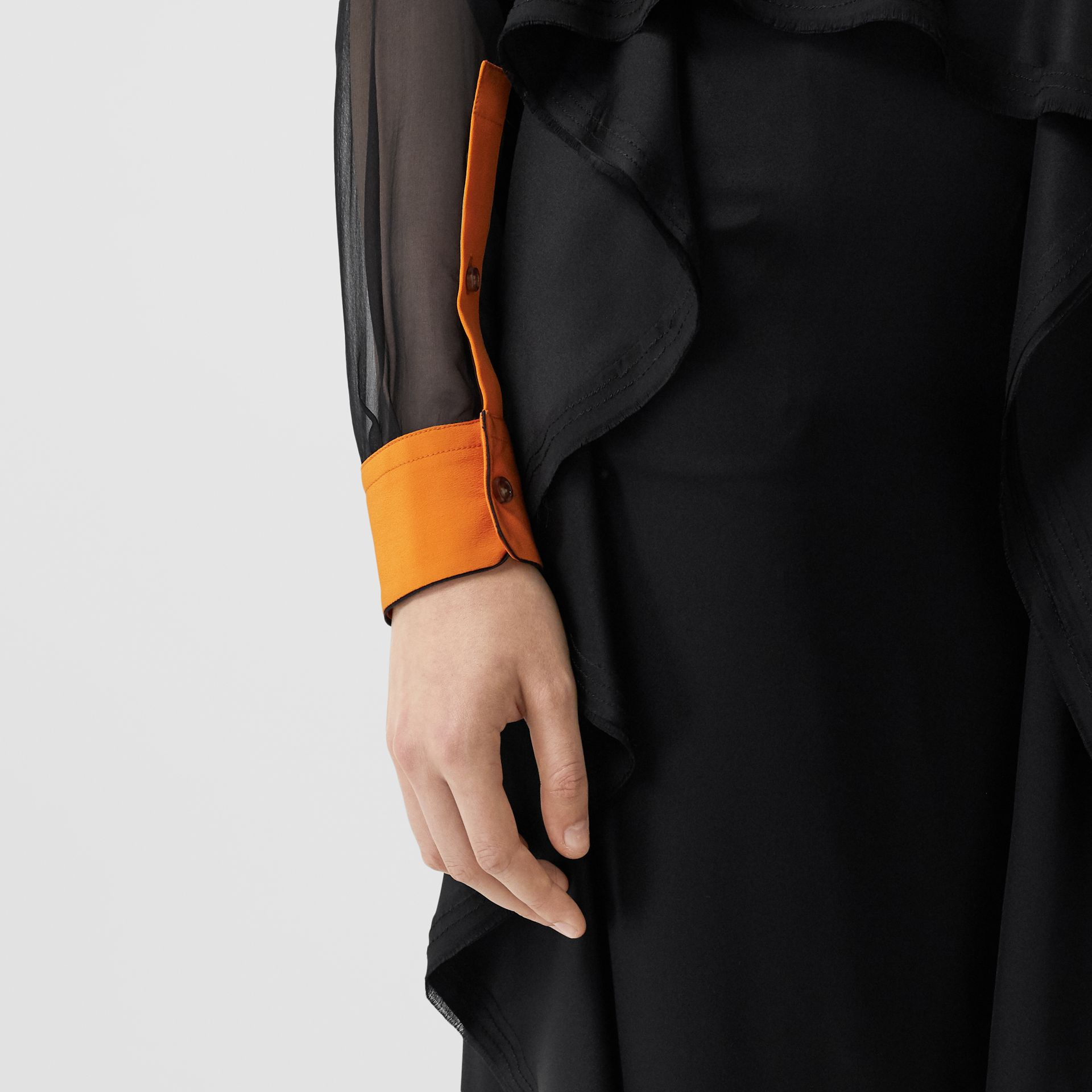 Colour Block Silk Shirt in Black - Women | Burberry - gallery image 4