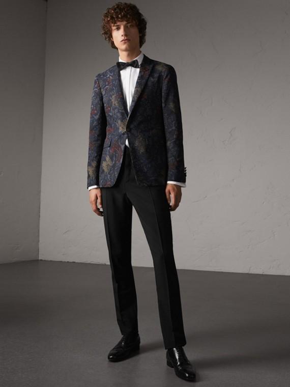 Pantalones de fiesta y corte ajustado en lana y angora (Negro)