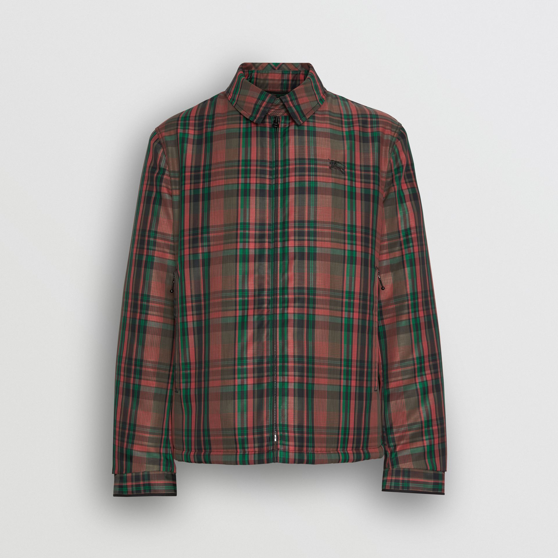 Fleece-lined Check Harrington Jacket in Russet Red - Men | Burberry - gallery image 3