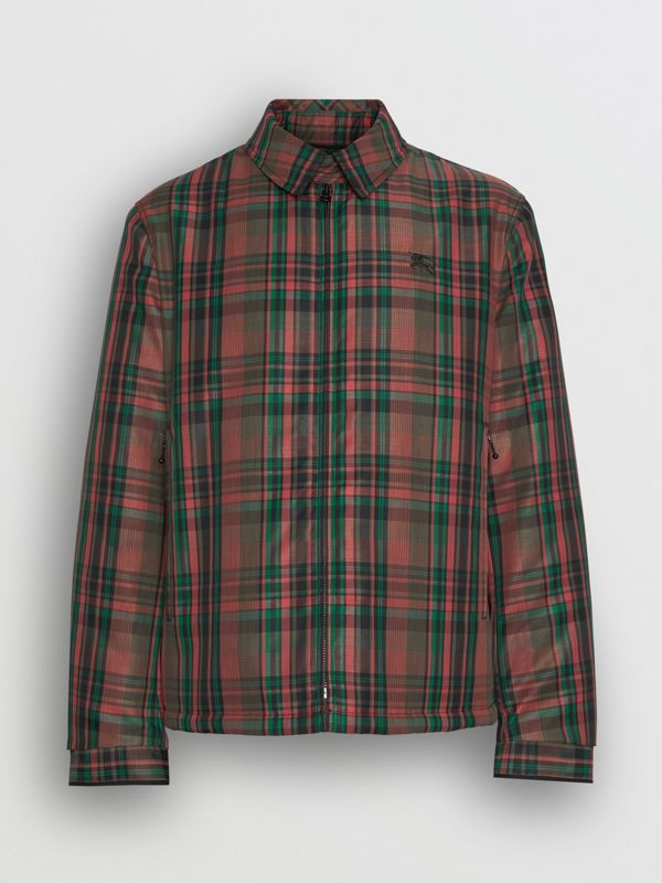 Fleece-lined Check Harrington Jacket in Russet Red - Men | Burberry United States - cell image 3