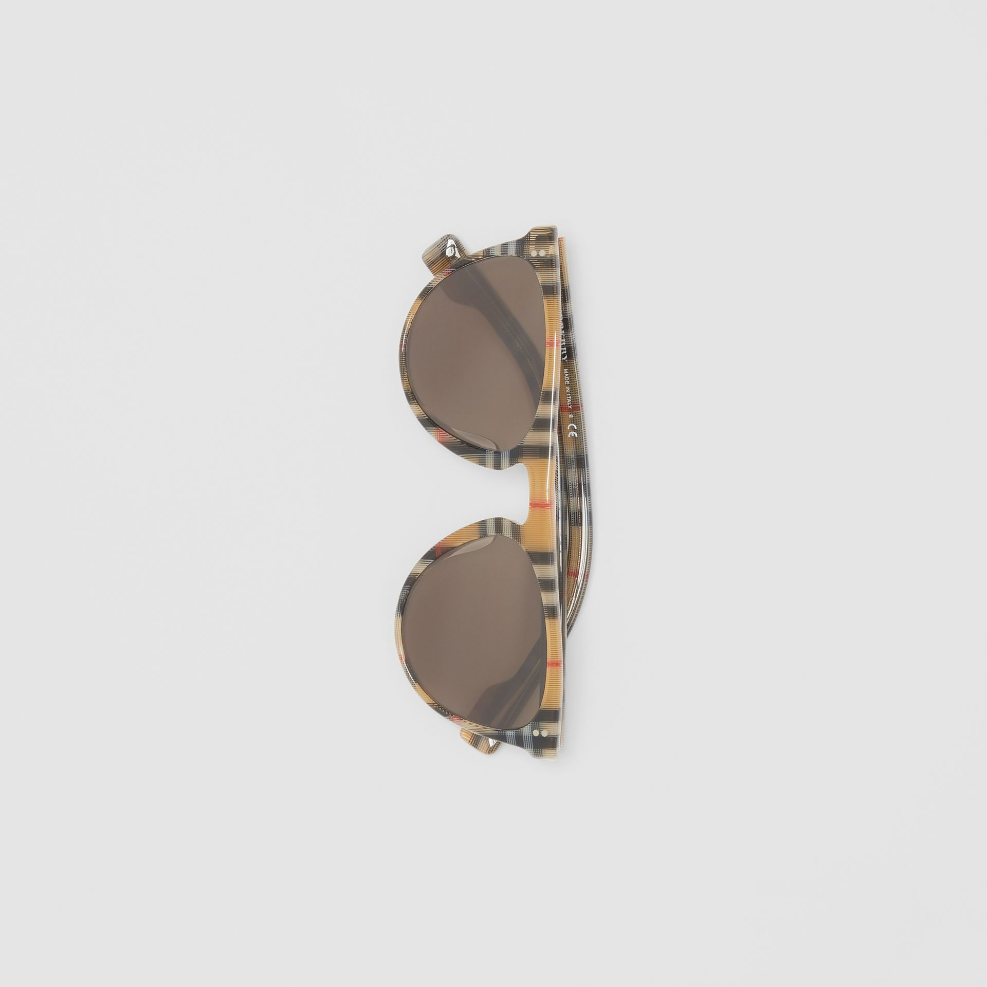 Vintage Check Keyhole D-shaped Sunglasses in Antique Yellow - Men | Burberry - gallery image 2