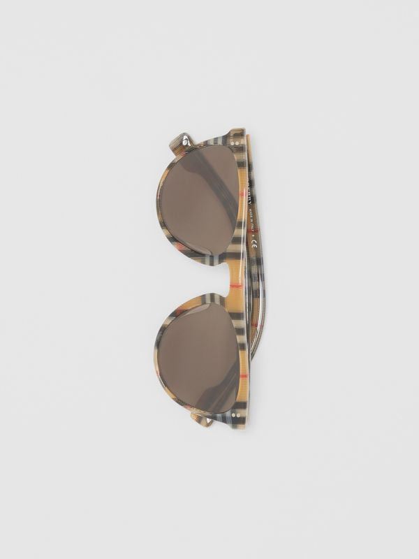Vintage Check Keyhole D-shaped Sunglasses in Antique Yellow - Men | Burberry - cell image 2