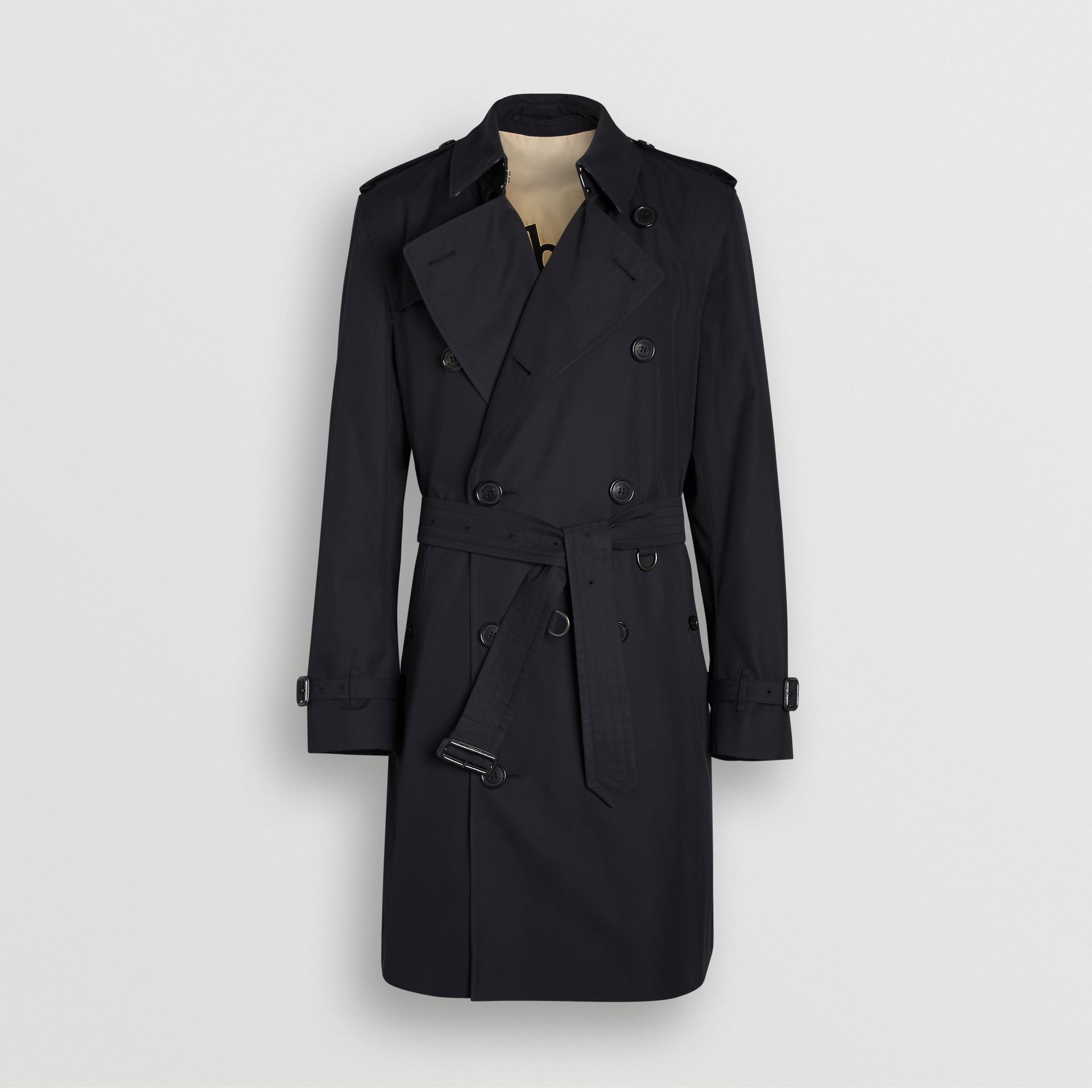 Archive Logo-lined Cotton Gabardine Trench Coat in Midnight - Men | Burberry - gallery image 3