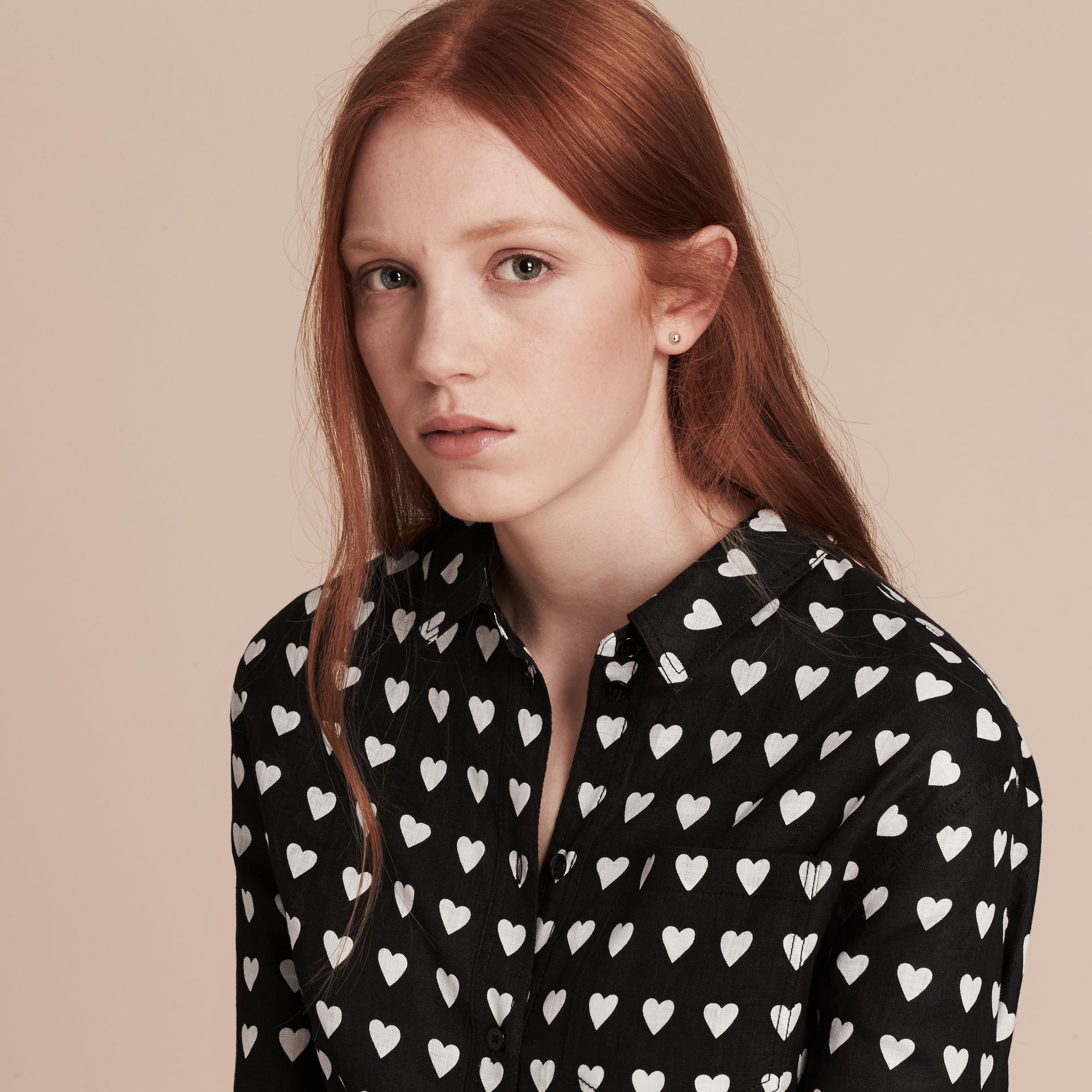 Black Heart Print Linen Shirt Black - gallery image 5