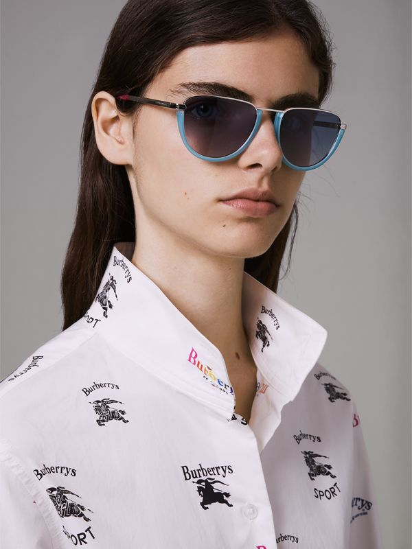 Half Moon Pilot Round Frame Sunglasses in Pale Blue - Women | Burberry - cell image 2