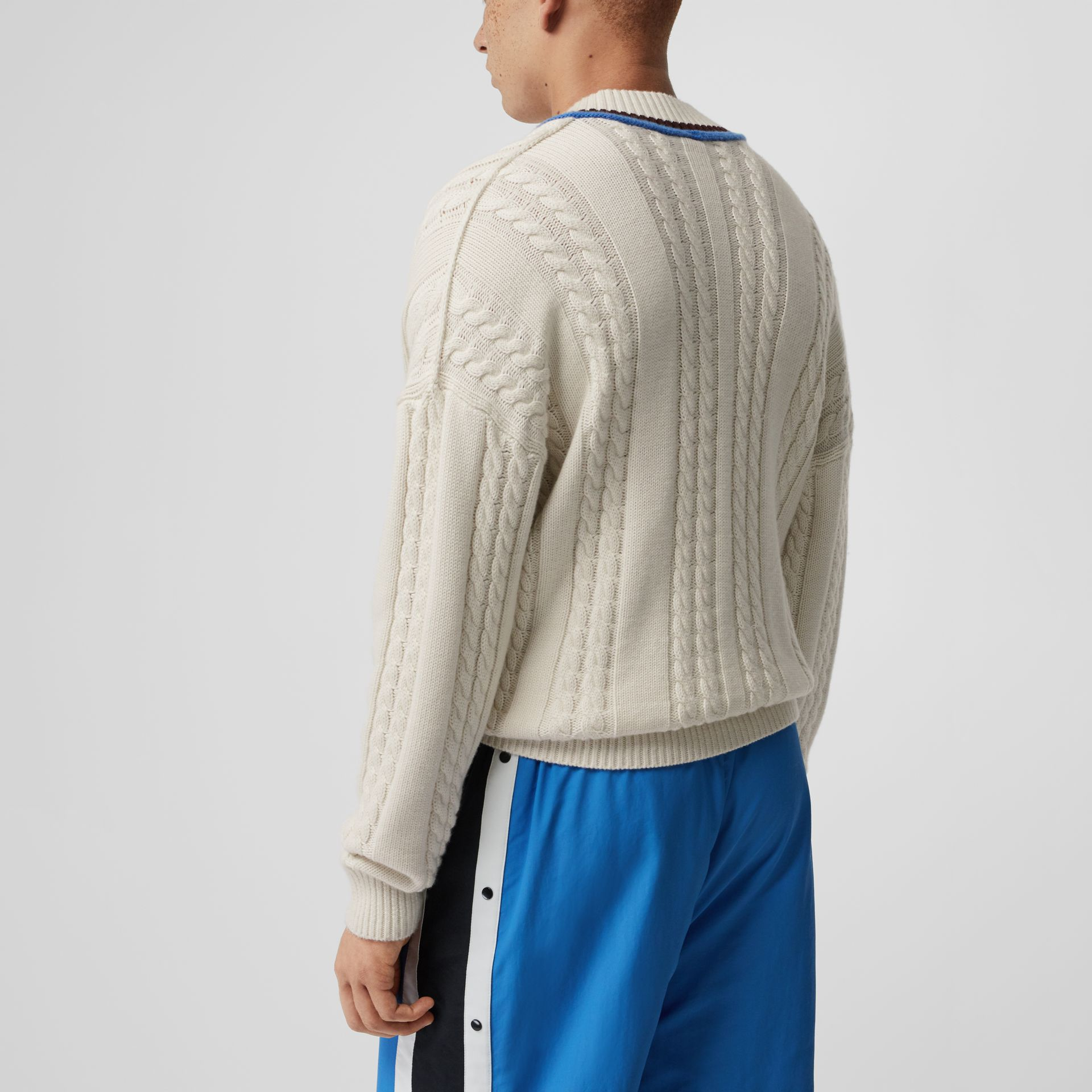 Cashmere Cotton Cricket Sweater in Natural White - Men | Burberry - gallery image 2