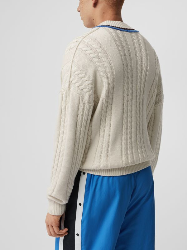 Cashmere Cotton Cricket Sweater in Natural White - Men | Burberry - cell image 2