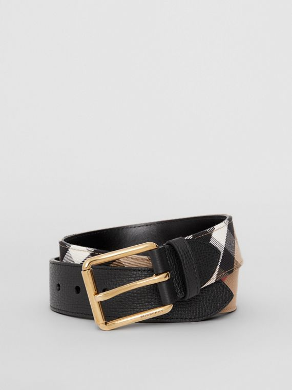 House Check and Leather Belt in Black