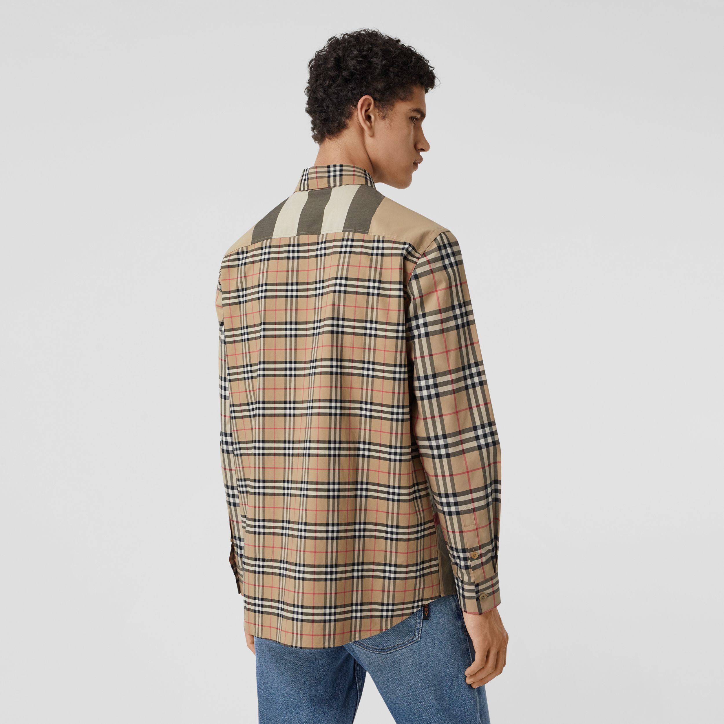 Patchwork Check Stretch Cotton Oversized Shirt in Archive Beige - Men | Burberry - 3