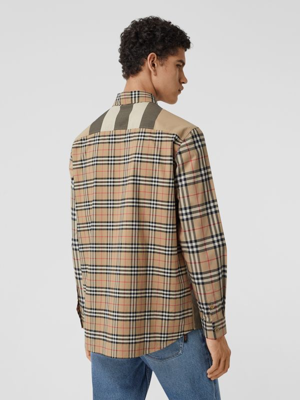 Patchwork Check Stretch Cotton Oversized Shirt in Archive Beige - Men | Burberry United Kingdom - cell image 2