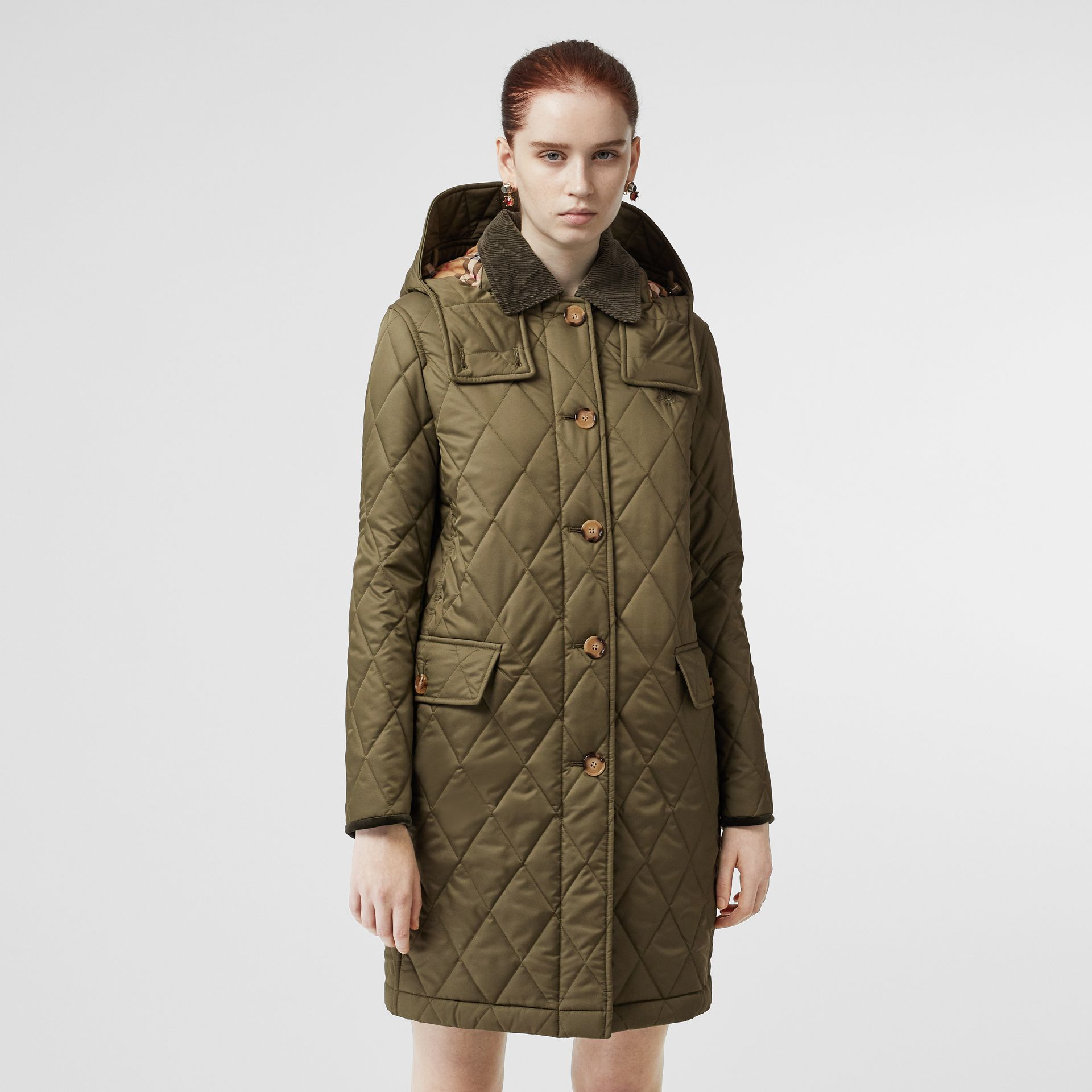 Detachable Hood Monogram Motif Quilted Coat in Olive Green - Women | Burberry - gallery image 5