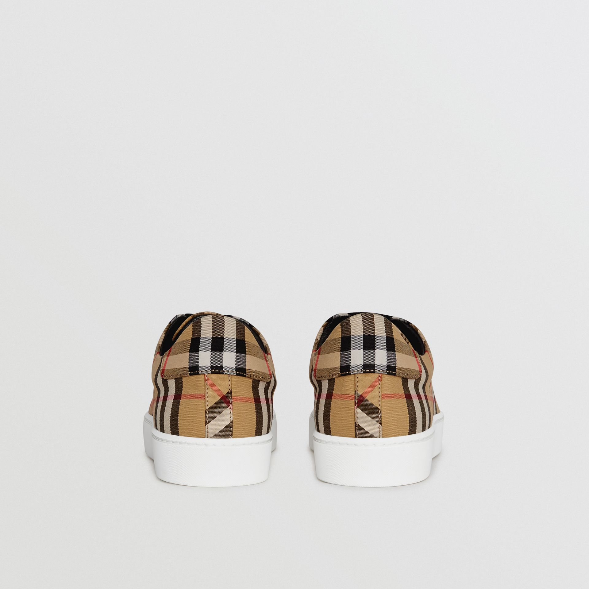 Vintage Check and Leather Sneakers in Antique Yellow - Women | Burberry United Kingdom - gallery image 4