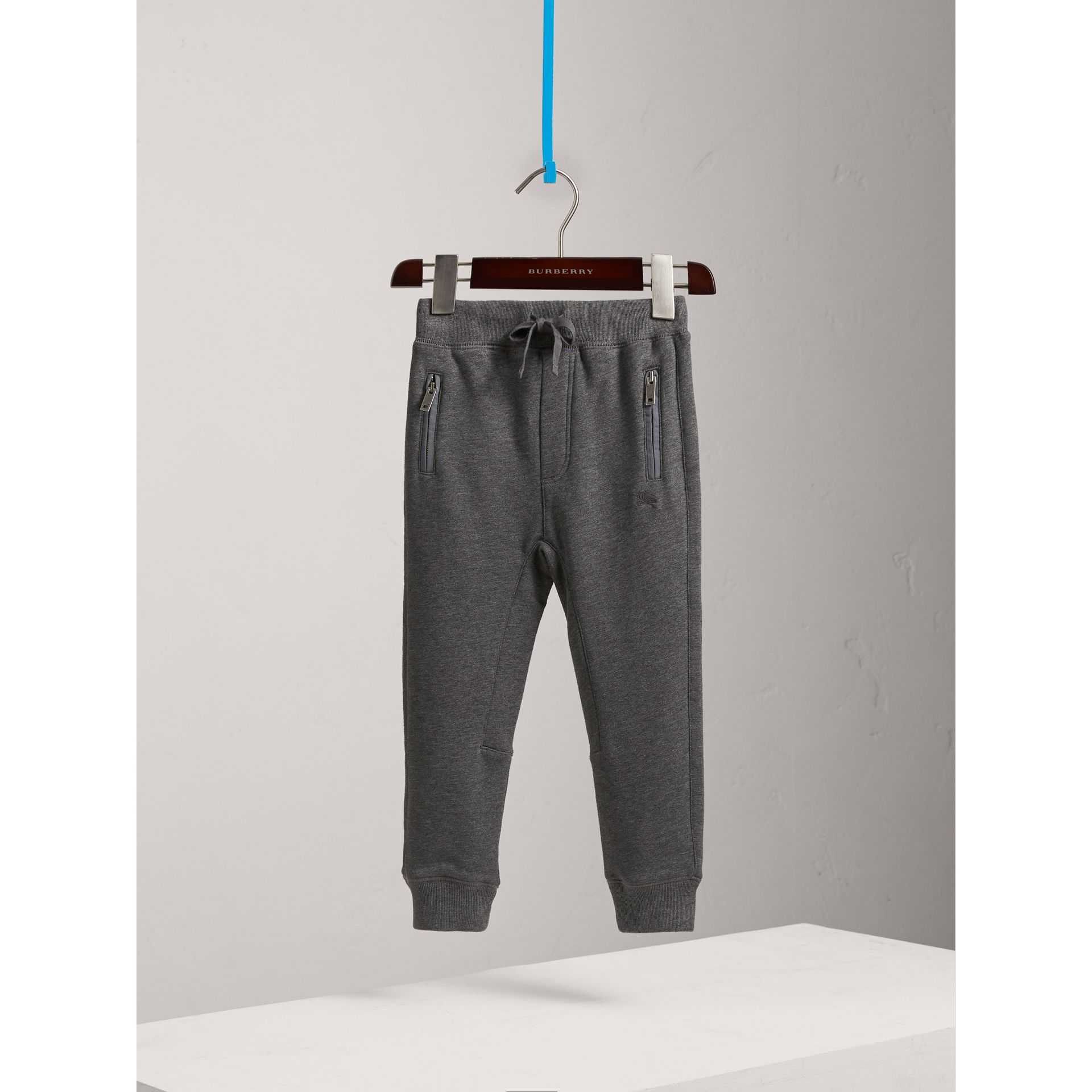 Drawcord Cotton Sweatpants in Charcoal Melange - Boy | Burberry United Kingdom - gallery image 3