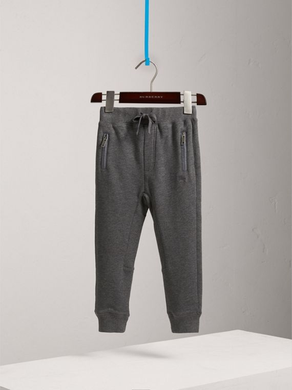 Drawcord Cotton Sweatpants in Charcoal Melange - Boy | Burberry - cell image 2