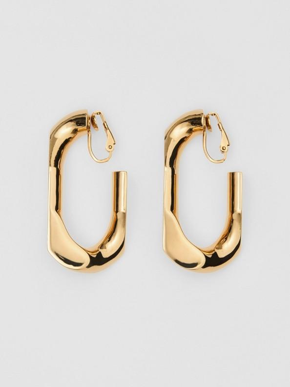 Brincos de corrente grandes folheados a ouro (Dourado Claro)