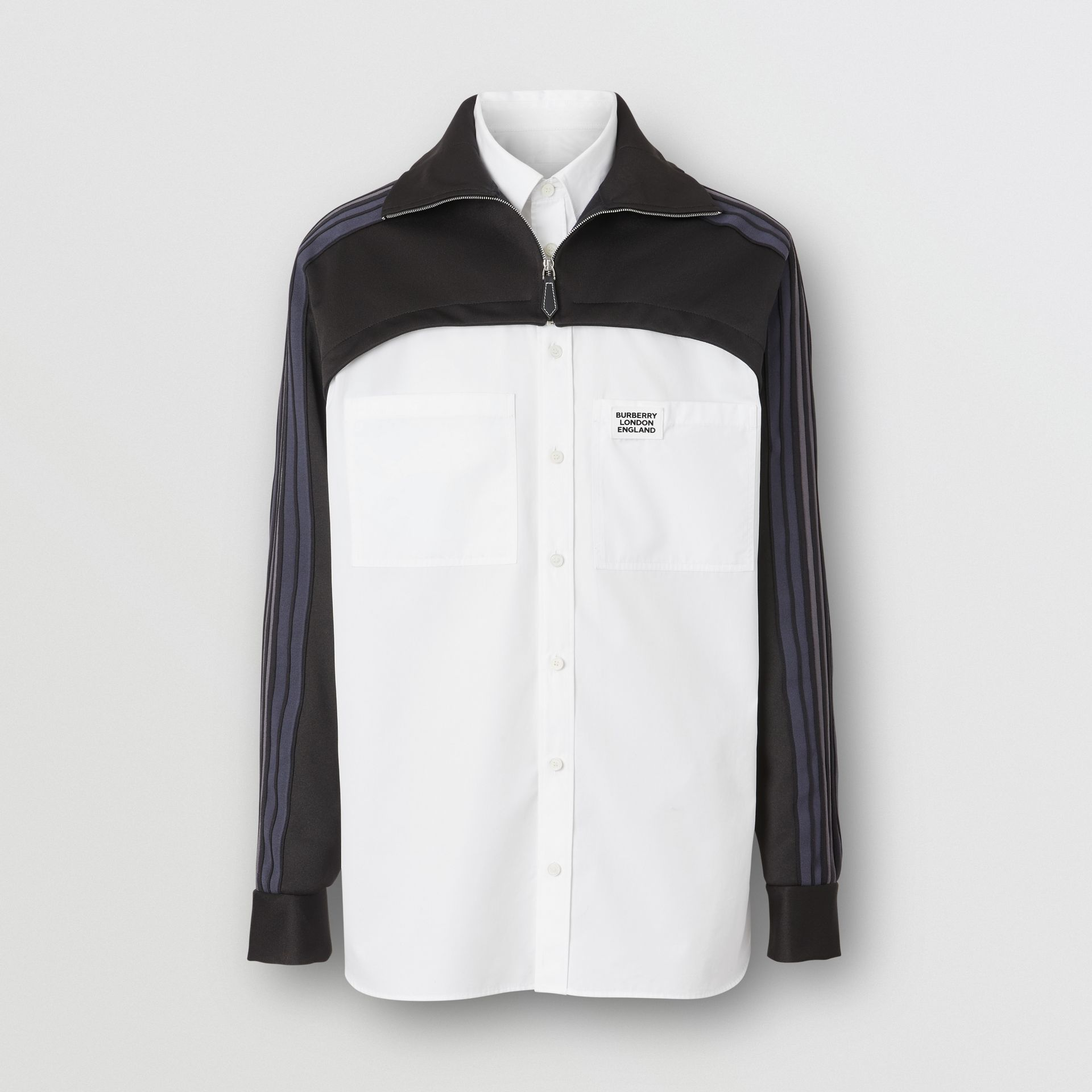Track Top Panel Cotton Poplin Shirt in Black - Men | Burberry - gallery image 3