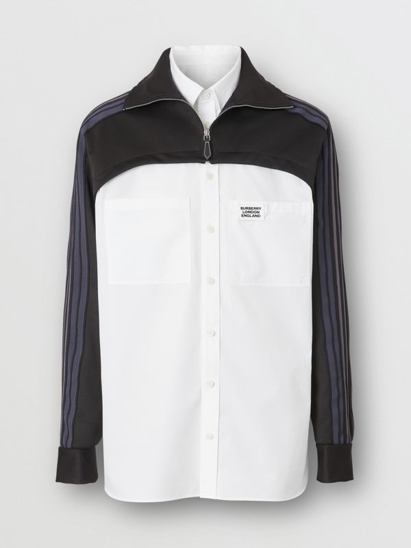 Track Top Panel Cotton Poplin Shirt in Black - Men | Burberry - cell image 3
