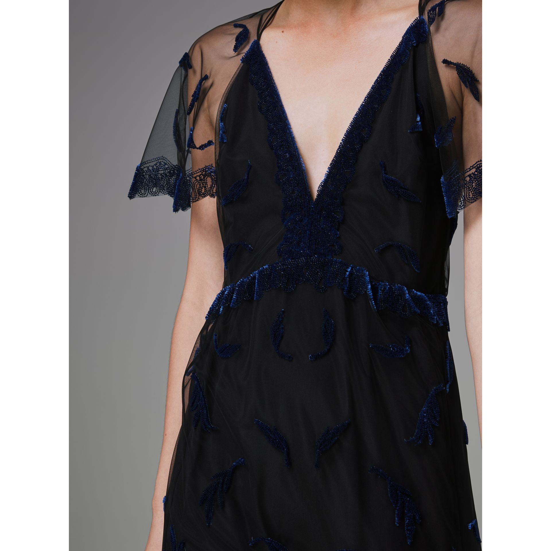 Velvet Leaf Cap-sleeve Gown in Black/blue - Women | Burberry Singapore - gallery image 1