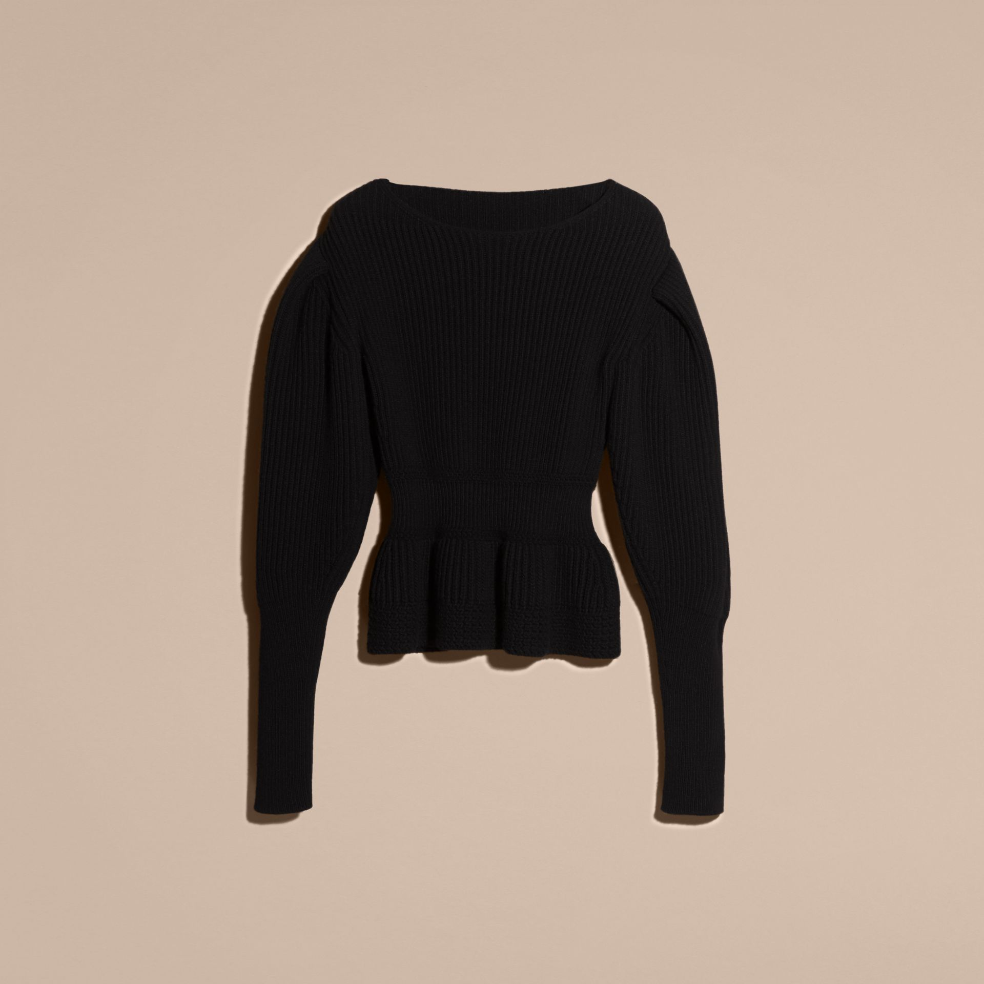 Black Multi-stitch Wool Cashmere Sweater - gallery image 4