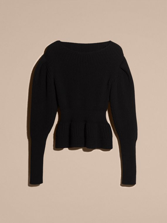Black Multi-stitch Wool Cashmere Sweater - cell image 3