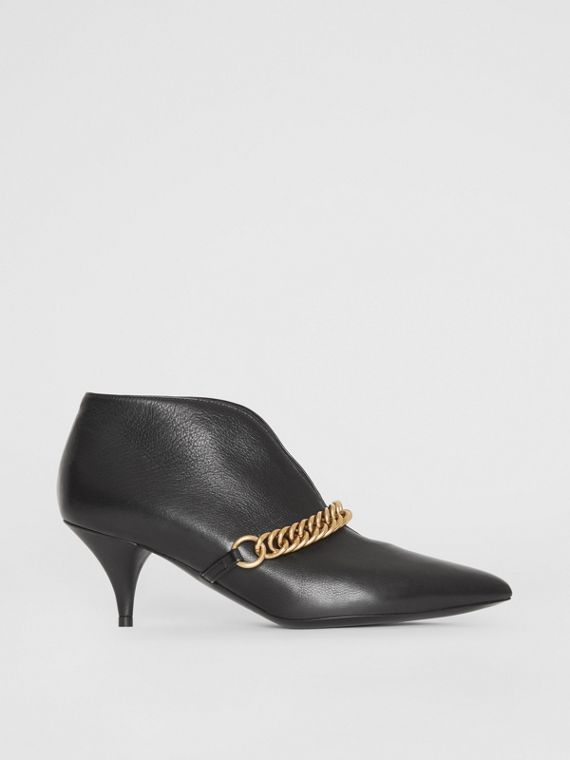 Link Detail Leather Ankle Boots in Black