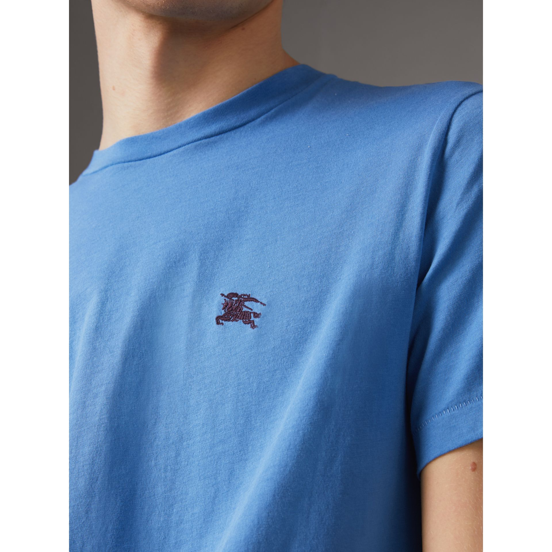Cotton Jersey T-shirt in Light Azure - Men | Burberry - gallery image 1