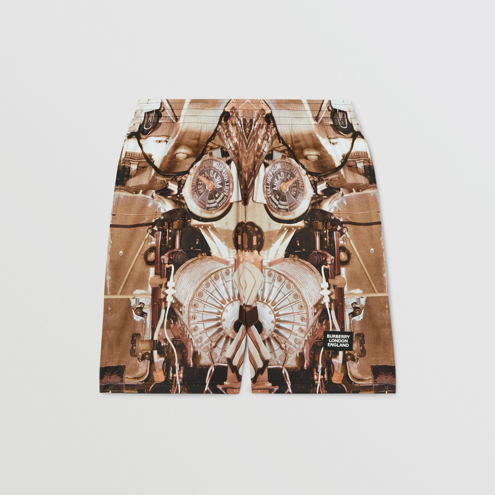Submarine Print Mesh Shorts in Bronze - Men | Burberry - gallery image 3