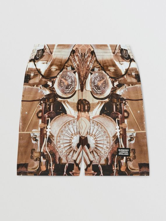 Submarine Print Mesh Shorts in Bronze