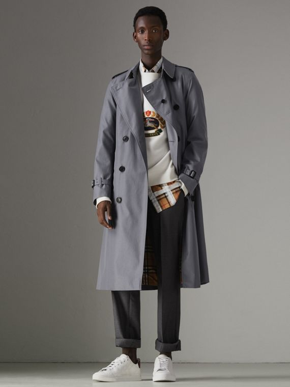 The Long Chelsea Heritage Trench Coat in Mid Grey