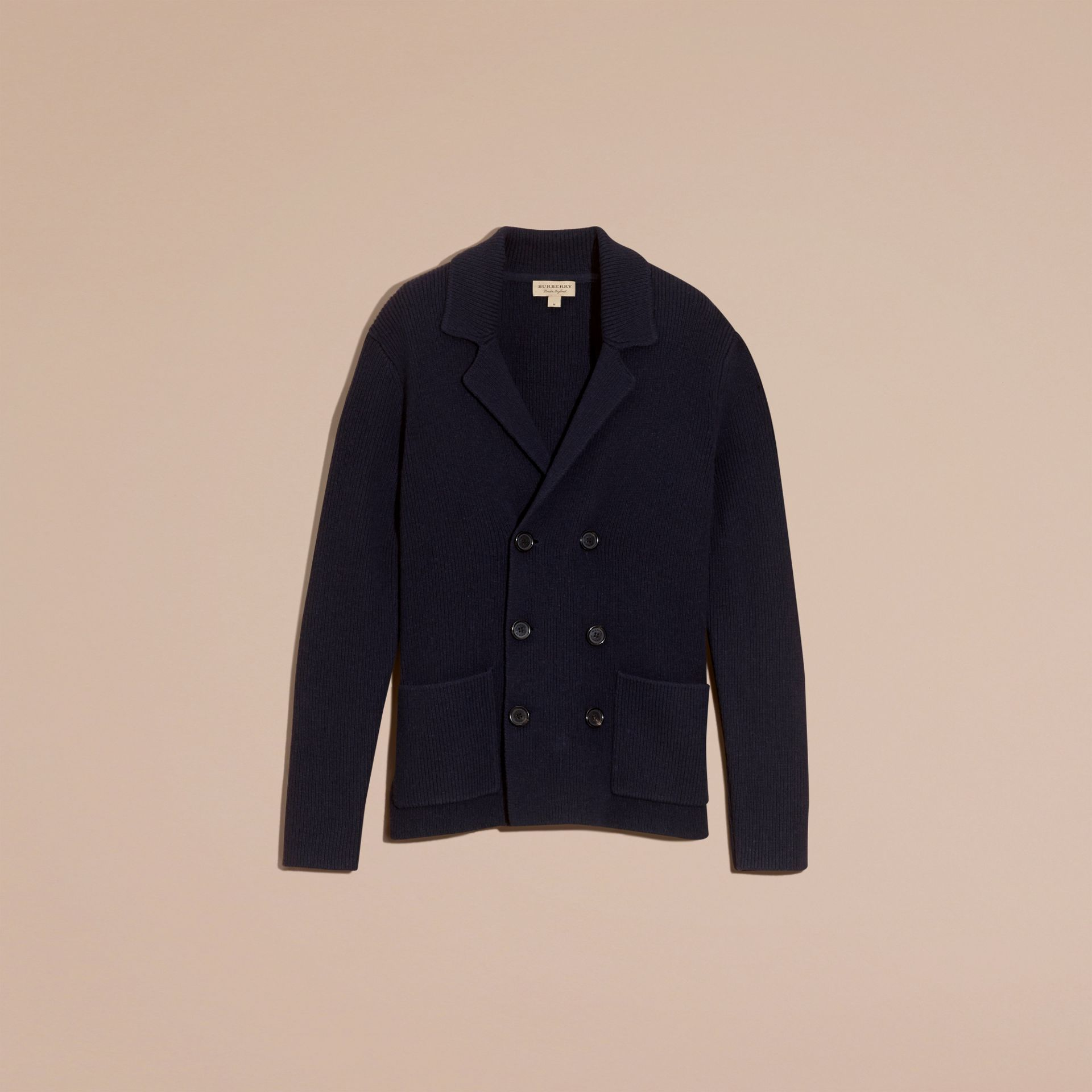 Navy Double-breasted Ribbed Wool Cashmere Cardigan - gallery image 4