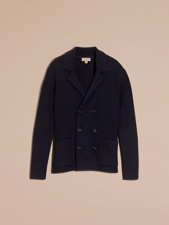 Navy Double-breasted Ribbed Wool Cashmere Cardigan - cell image 3