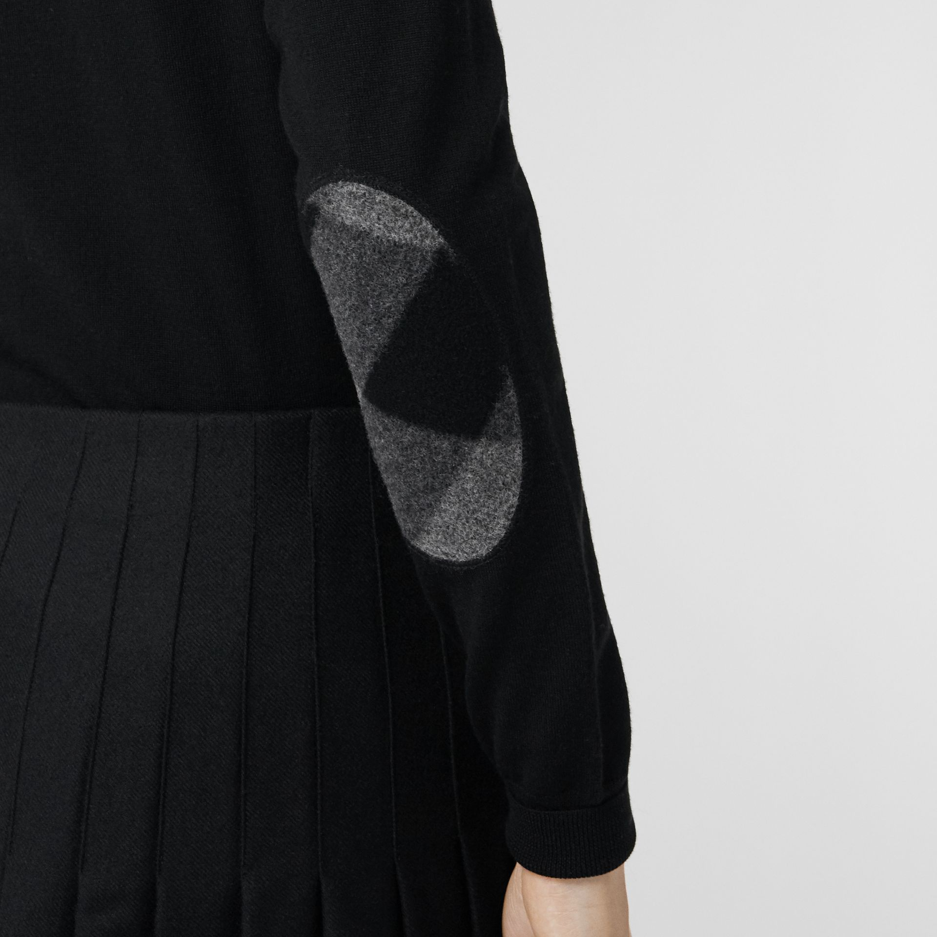 Check Detail Merino Wool Cardigan in Black - Women | Burberry Singapore - gallery image 1
