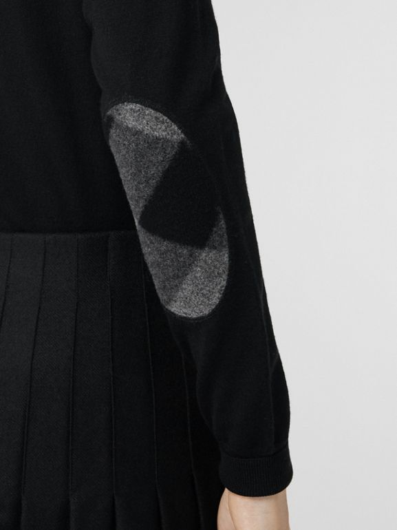 Check Detail Merino Wool Cardigan in Black - Women | Burberry - cell image 1
