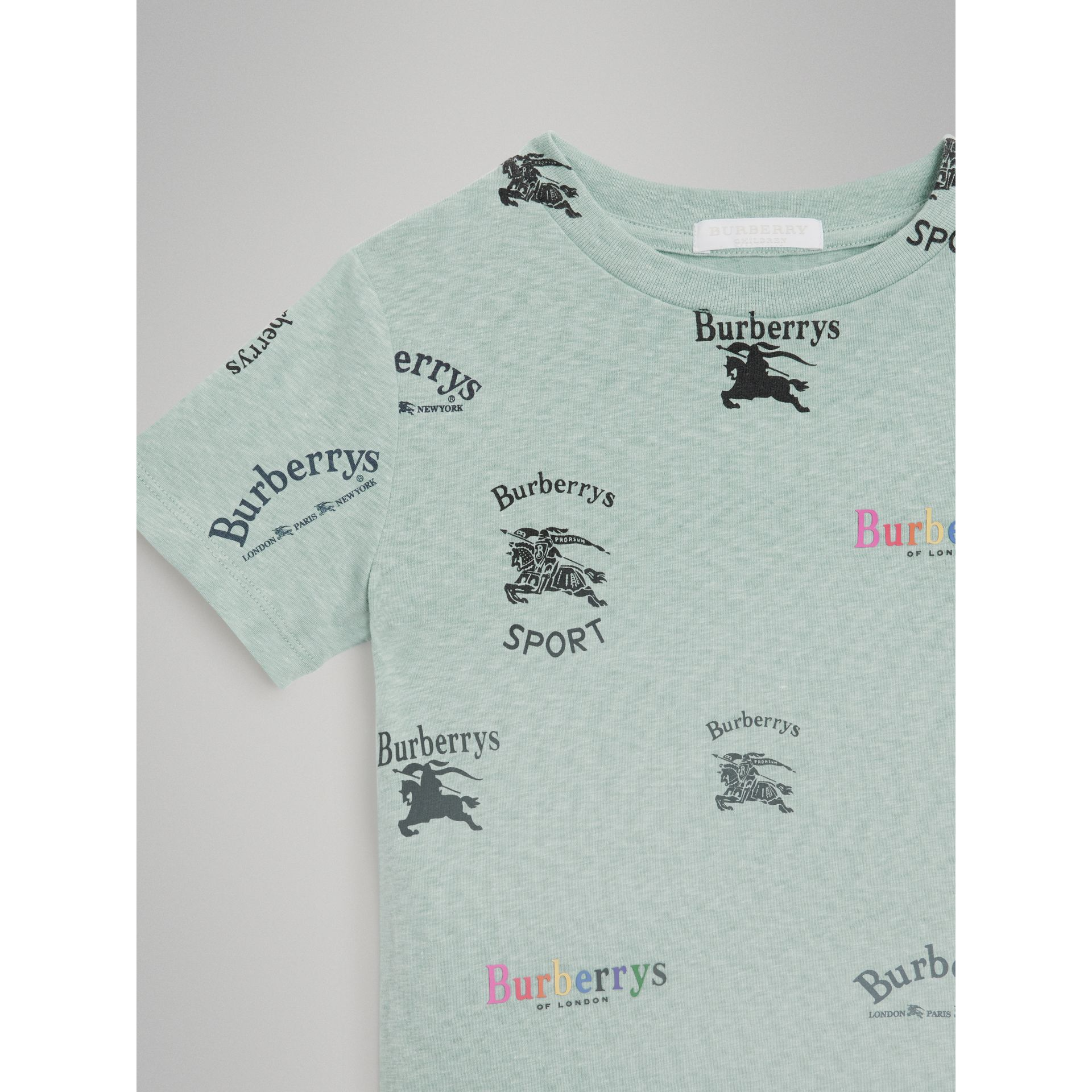 Archive Logo Print Jersey T-shirt in Mint - Children | Burberry - gallery image 4