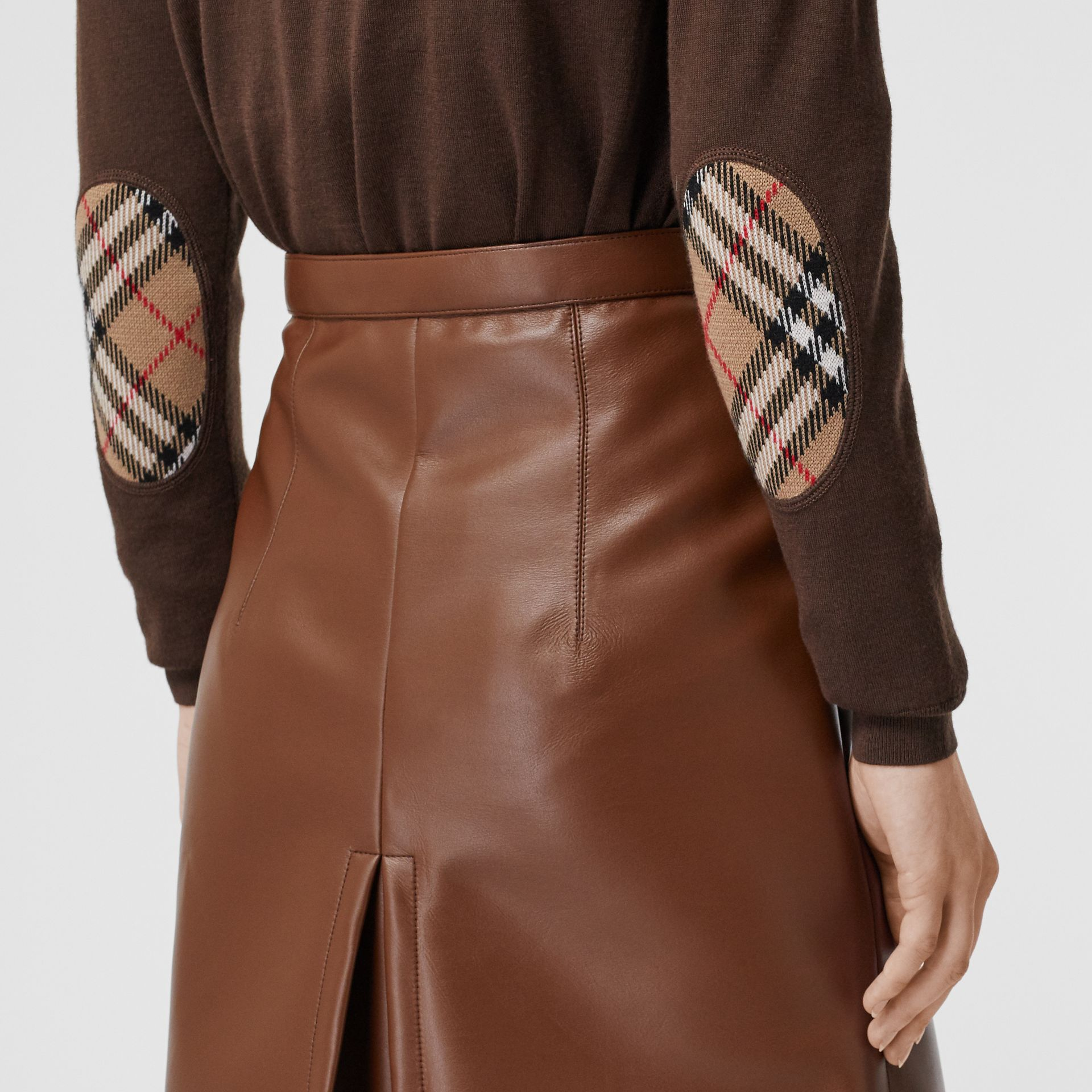 Vintage Check Detail Merino Wool Sweater in Bridle Brown - Women | Burberry Canada - gallery image 1