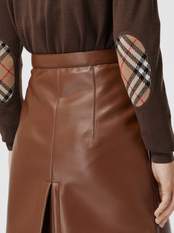 Vintage Check Detail Merino Wool Sweater in Bridle Brown - Women | Burberry Australia - cell image 1