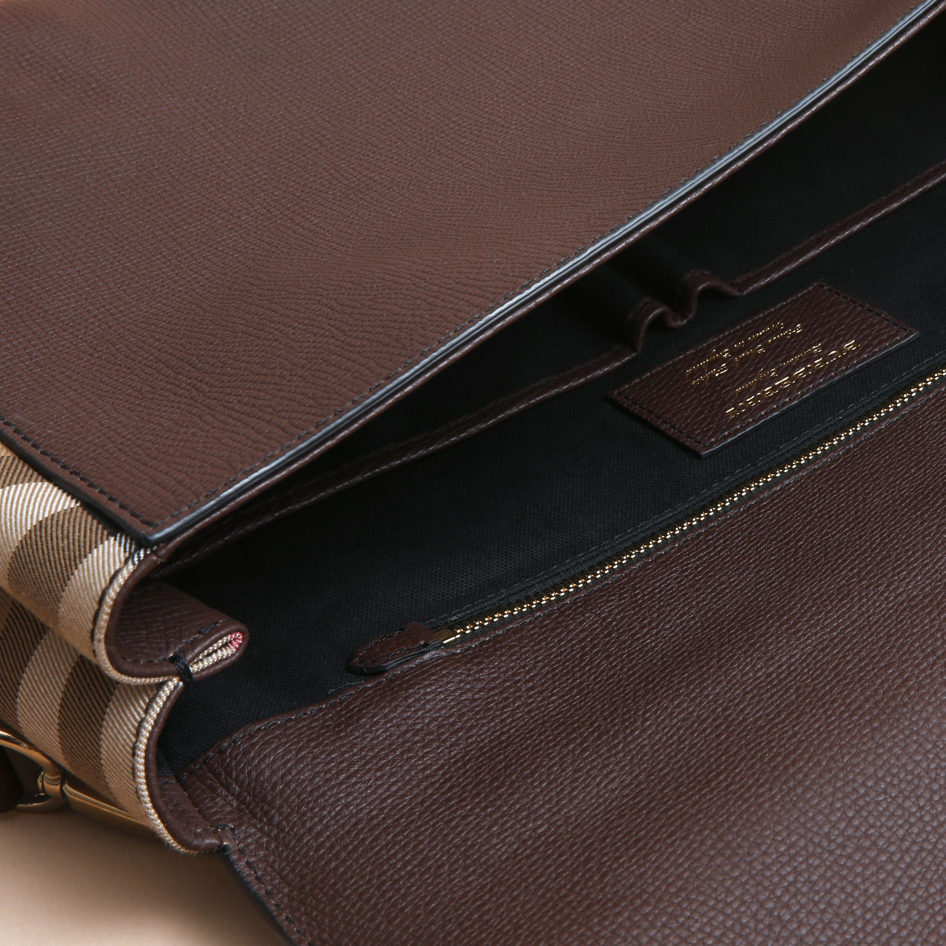 Leather and House Check Satchel in Oak Brown - Men | Burberry Australia - gallery image 6