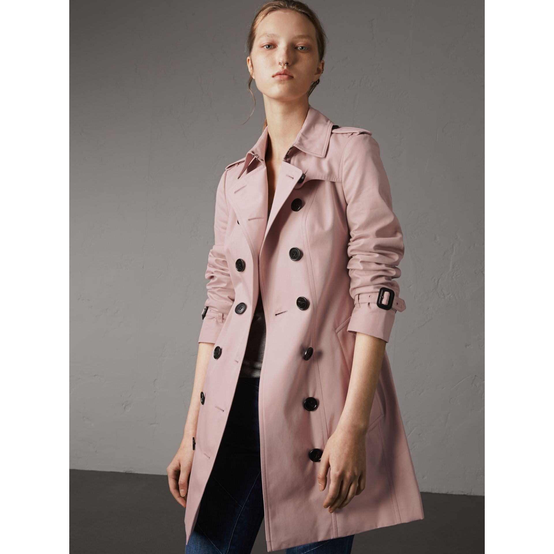 Cotton Gabardine Mid-length Trench Coat in Ice Pink - Women | Burberry Singapore - gallery image 1