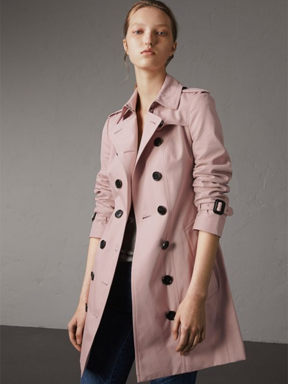 Cotton Gabardine Mid-length Trench Coat in Ice Pink