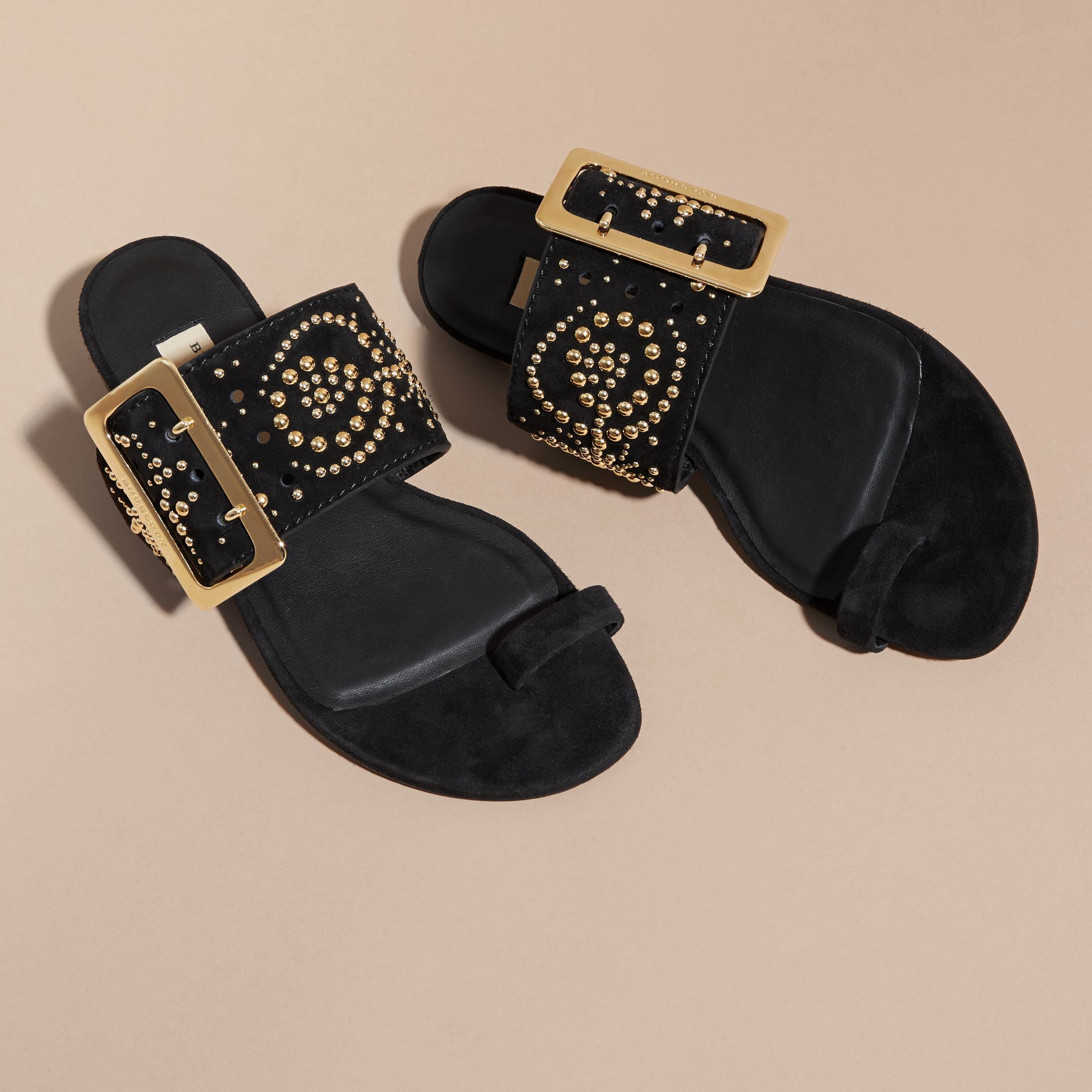 Studded Suede Sandals with Buckle Detail in Black - Women | Burberry - gallery image 4