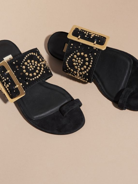 Studded Suede Sandals with Buckle Detail in Black - Women | Burberry - cell image 3
