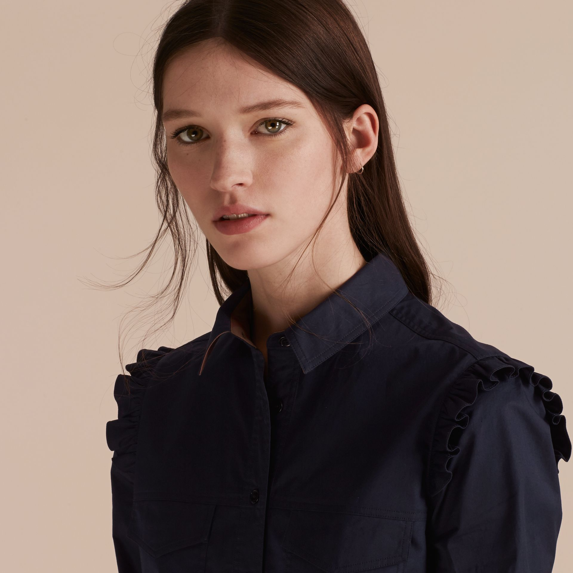 Ruffle and Check Detail Cotton Shirt Dress Navy - gallery image 6