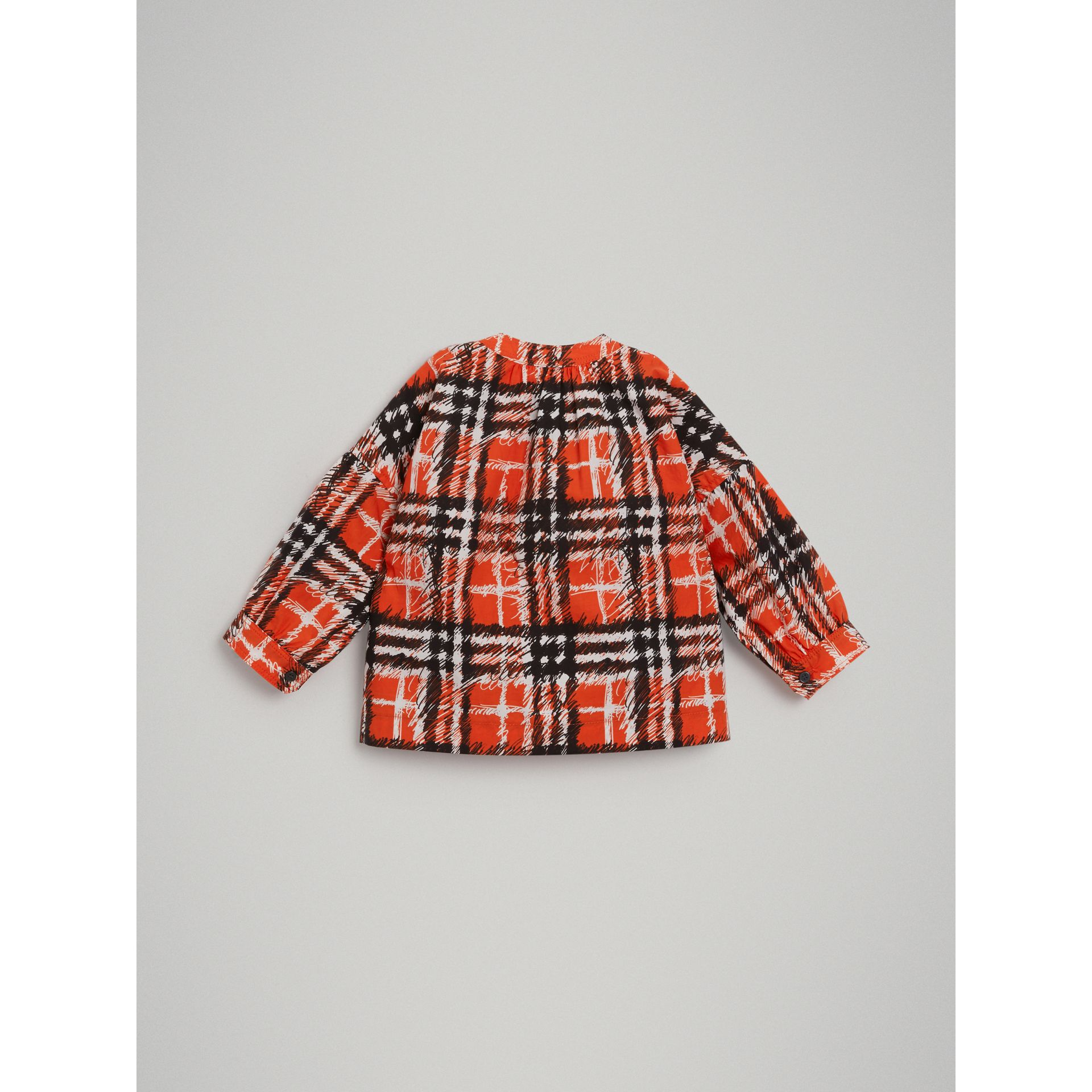 Scribble Check Print Cotton Shirt in Bright Red - Girl | Burberry - gallery image 3