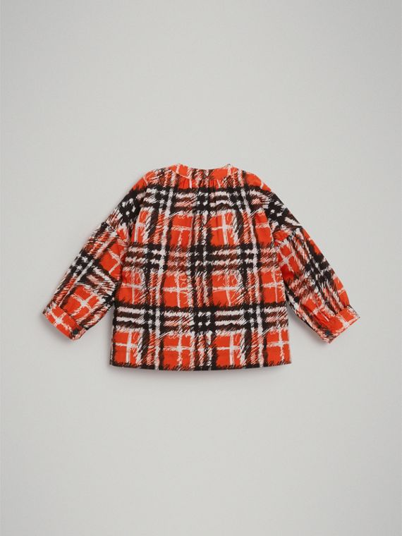 Scribble Check Print Cotton Shirt in Bright Red | Burberry - cell image 3