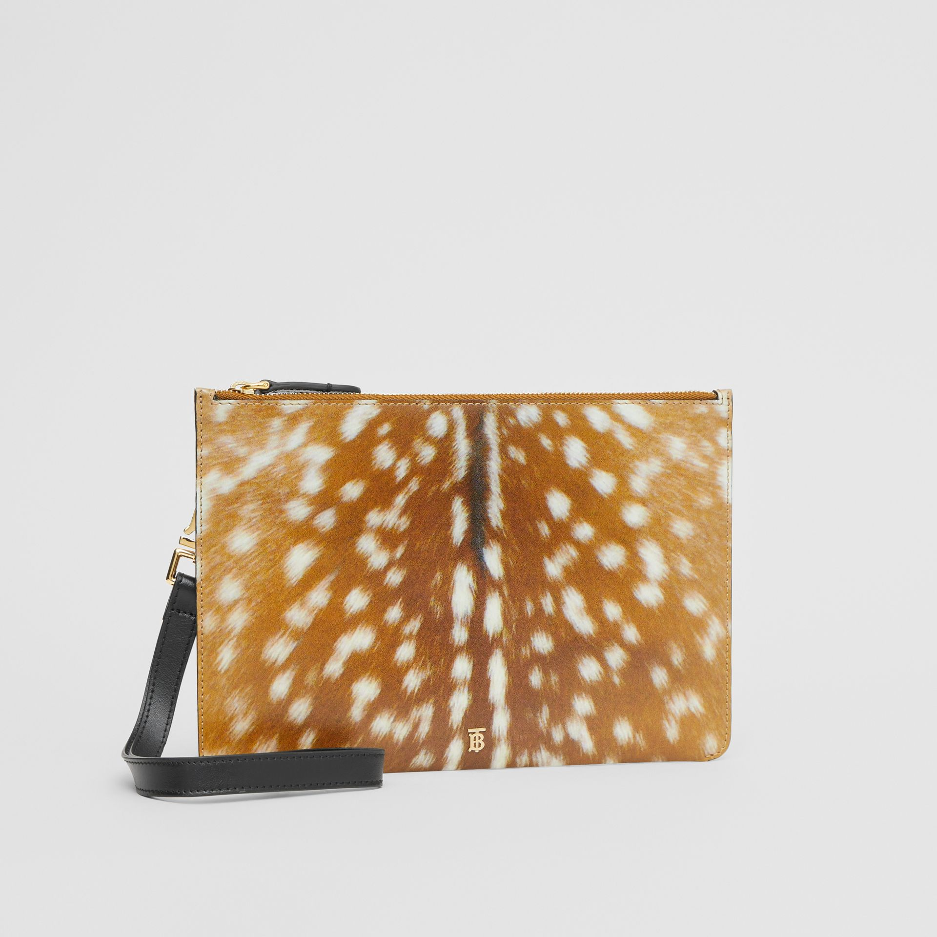 Deer Print Leather Zip Pouch in Malt Brown | Burberry Singapore - gallery image 6