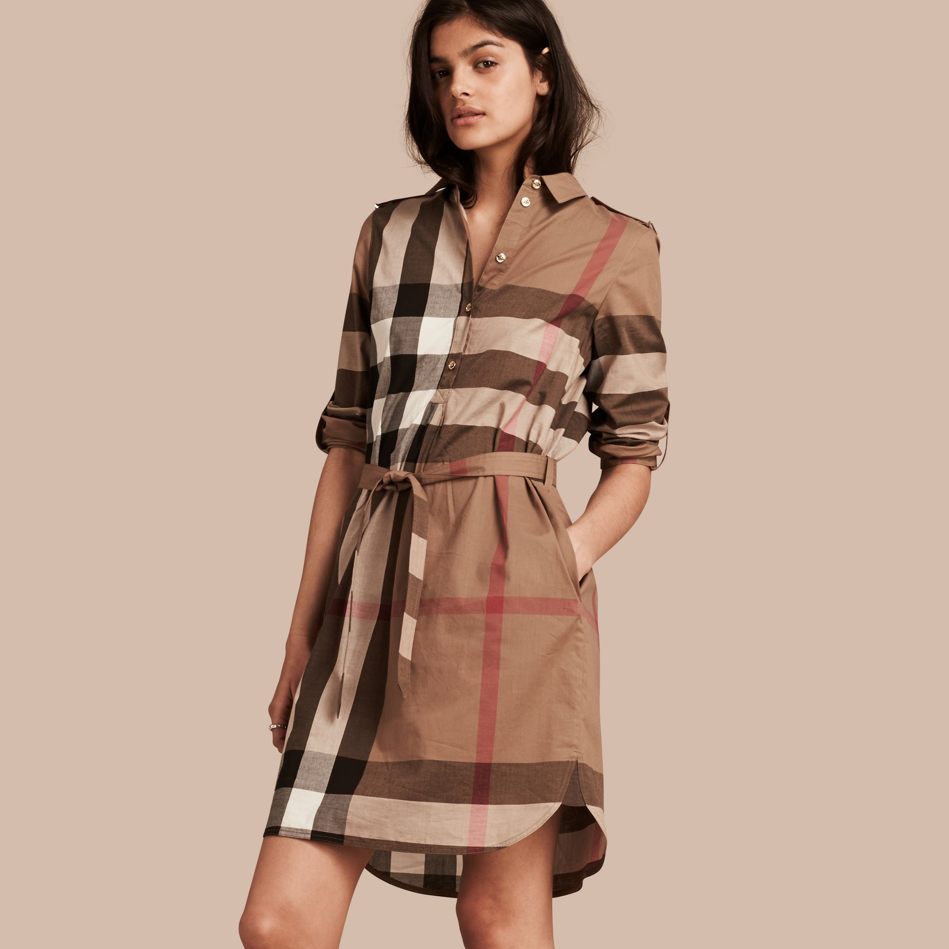 Check Cotton Shirt Dress in Taupe Brown - gallery image 1