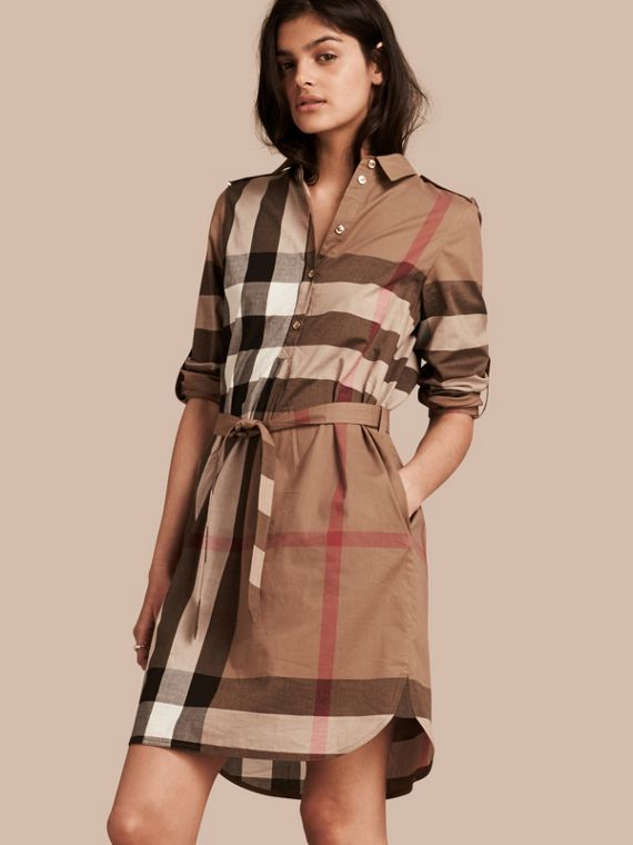 Check Cotton Shirt Dress Taupe Brown